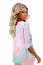 V-neck Long Sleeve Tie-dye Blouse With Buttons Closure
