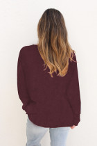Wine Plain Knit Long Sleeve Top