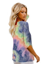 Blue V-neck Long Sleeve Tie-dye Blouse With Buttons Closure