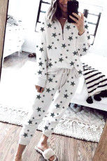 Star Print Zipper Collar Long Sleeve Top and Jogger Loungewear Set