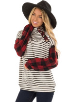 Plaid Patchwork Striped Button Long Sleeve Top