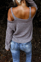 Gray Dew Shoulder Juliette Knitted Sweater
