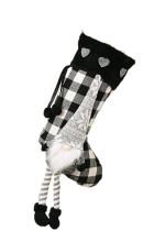 Kaus Kaki Kotak-kotak Natal Hitam Gnome Snowflake Heart Hanging Ornament