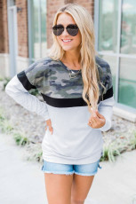 Black Camouflage Patchwork Long Sleeve Top