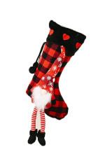 Červené vánoční kostkované gnome vločka srdce visí Ornament ponožka