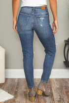 Blue Hollow Out Vintage Skinny Ripped Farmer