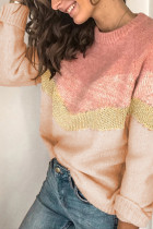 Pink V Stripe Pattern Colorblock Sweater