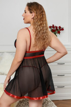 Kiss Me Slowly Black Plus Size Mesh Babydoll Σετ 2 τεμαχίων
