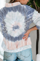 Moletom cinza de algodão tie-dye com decote falso