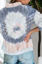 Kaus Ritsleting Leher Mock Tie-dye Katun Abu-abu