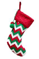 Zelená pompomová vánoční závěsná dekorační ponožka