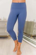 Set Legging Bra Olahraga Biru Menyilang