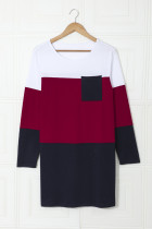 Minivestido color block con bolsillo