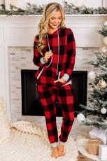 Рождественский пижамный комплект с капюшоном и карманом в красной клетке на шнурке