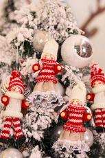 4 pçs / saco enfeite pendurado boneca de malha árvore de natal