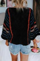 Sweater Pantai Bergaris Hitam Lengan Lebar