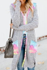 Cardigan longo listrado de patchwork tie-dye com bolsos