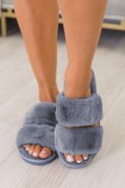 Blauwe harige vamp pantoffels