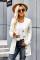 Bílý knoflíkový kapesní pletený svetr