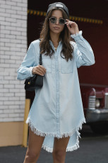 Himmelblå denim langærmet shirtskjole
