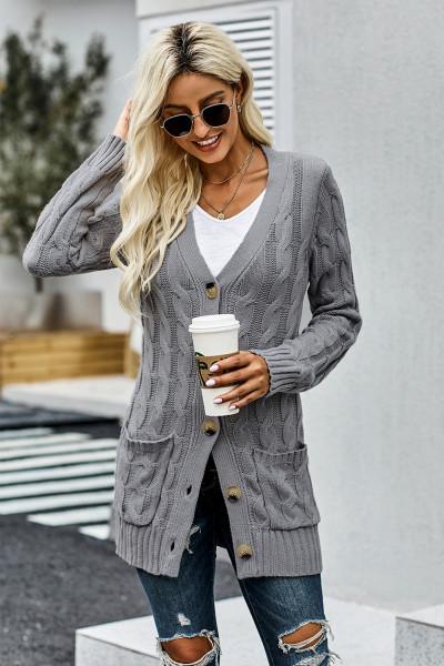 Šedý knoflíkový kapesní pletený svetr