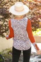 Camisa de mangas compridas com botão de emenda laranja leopardo