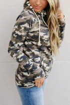 Camouflage Zipper Collar Striped Doublehood Sweatshirt