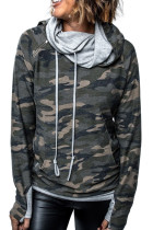 Cowl Neck Camo Kangaroo Pocket Hoodie with Thumb Hole