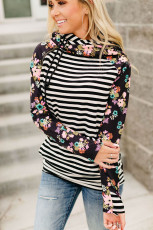 Black Striped Floral Print Long Sleeve Zipper Hoodie