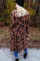 Brown Leopard Print Open Front Cardigan with Pockets