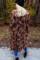 Cardigan frontal aberto com estampa de leopardo marrom com bolsos