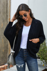 Black Chunky Knit Solid Cardigan with Pocket
