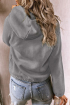 Gray Solid Color Button Casual Hoodie