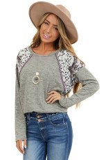 Gray Long Sleeve Top With Leopard Snakeskin Print