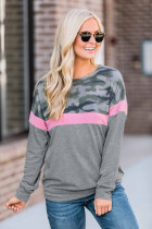 Pink Camouflage Patchwork Long Sleeve Top