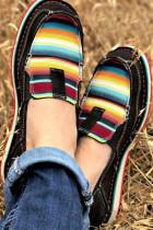 Sepatu Kets Kanvas Datar Splicing Bergaris