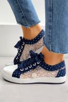 Sepatu Flat Lace Splicing Biru Tua