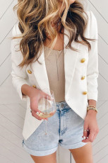 White 3/4 Sleeve Double Breasted Blazer