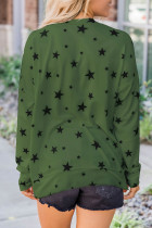 Green Round Neck Star Print Long Sleeve Top