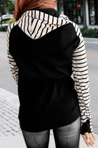 Black Striped Inclined Zipper Drawstring Kangaroo Pocket Hoodie