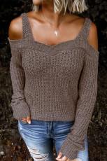 Suéter de malha Khaki Dew Shoulder Juliette