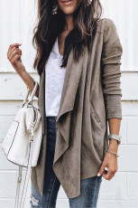 Gray Suede Draped Knit Coat