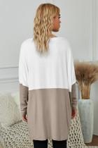 Kaki Colorblock Áo dài tay dài thông thường có túi