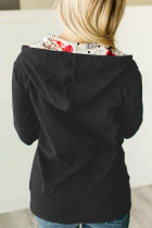 Svart hettegenserjakke med glidelås og indre hette med blomsterprint