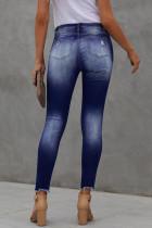 Kancing Depan Biru Bertingkat Tinggi Frayed Ankle Skinny Jeans