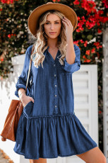 Pocketed Ruffled Denim Shirt Mini Dress