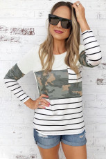White Camo Stripes Patchwork Long Sleeve Top with Pocket
