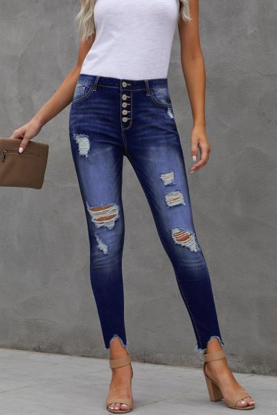 Синие джинсы скинни с потертостями спереди и пуговицами