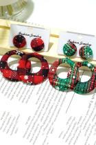 Červené kostkované textury vánoční kruhové náušnice