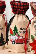 Tas Botol Anggur Gnome Kotak-kotak Selamat Natal